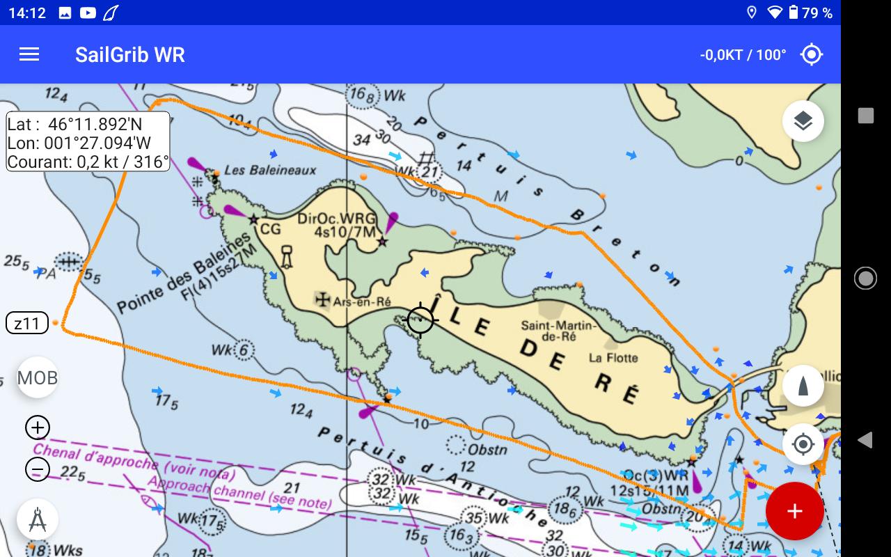 Le Tour de l'Ile de Ré enregistré dans SailGrib...