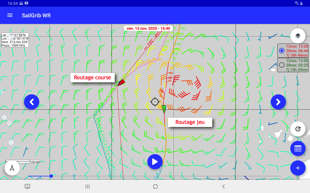 Routage course réelle versus jeu Virtual Regatta