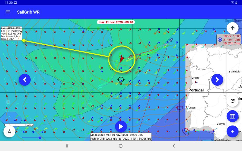Etat de la mer après le passage du front, prévision FNMOC WW3 pour le mercredi 11